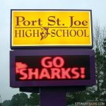 "Port St. Joe High School sign, whose motto is ""Go Sharks"""